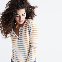 Madewell Sound Ribbed Henley Tee In Vivian Stripe Bright Ivory