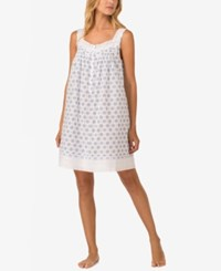 Eileen West Printed Cotton Nightgown White Blue Print