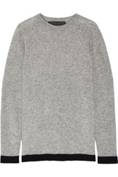 The Elder Statesman Five Picasso Two Tone Cashmere And Silk Blend Sweater Light Gray