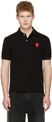 Comme Des Garcons Play Black Long Heart Patch Polo