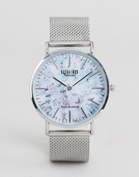 Reclaimed Vintage Marble Print Mesh Watch In Silver Silver