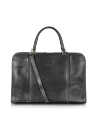 Chiarugi Double Handle Leather Briefcase Black