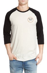 Brixton Men's 'Wheeler' Three Quarter Raglan Baseball T Shirt Off White