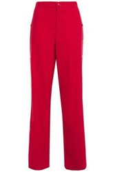 Red Valentino Redvalentino Woman Snap Detailed Wool Blend Wide Leg Pants Crimson