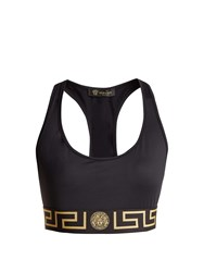 Versace Greek Key Logo Print Sports Bra Black Gold