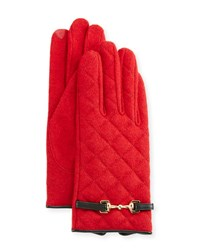 Portolano Wool Blend Quilted Gloves Red Black