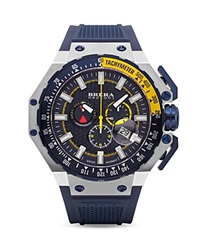 Brera Orologi Gran Turismo Navy Blue Ionic Plated Stainless Steel Watch With Navy Blue Rubber Strap 54Mm