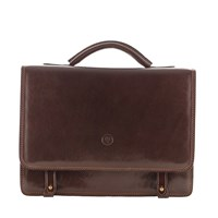 Maxwell Scott Bags Luxury Italian Leather Men's Business Satchel Briefcase Battista Dark Chocolate Brown
