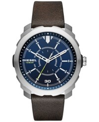 Diesel Men's Machinus Nsbb Dark Brown Leather Strap Watch 46Mm Dz1787