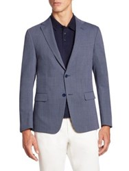 Z Zegna Micro Checked Wool Jacket Navy