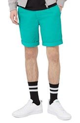 Topman Men's Stretch Skinny Chino Shorts Teal