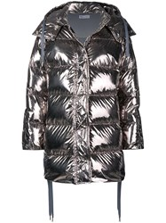 Red Valentino Shiny Puffer Jacket Silver