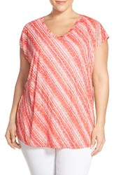 Sejour Plus Size Women's Print Burnout V Neck Tee Pink White Print
