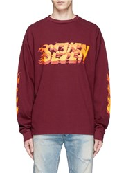Studio Seven 'Fire' Print Long Sleeve T Shirt Red