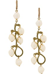 Marni Faux Pearl Pendant Earrings Nude And Neutrals
