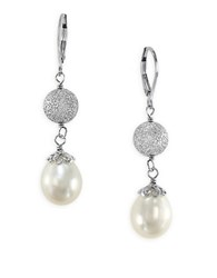 Effy Pearl Lace Oval Freshwater Pearl And Sterling Silver Drop Earrings