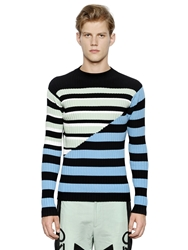 Kenzo Striped Ribbed Viscose Blend Sweater Blue Mint