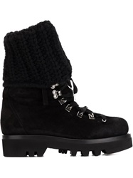 Ermanno Scervino Ribbed Trim Lace Up Boots Black