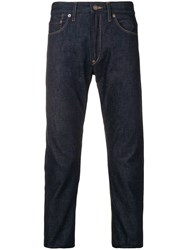 Junya Watanabe Man Straight Cut Jeans With Camou Patches Blue
