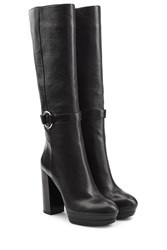 Hogan Leather High Heel Boots Black