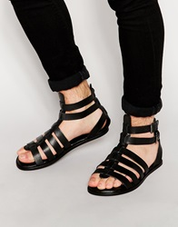 Asos Gladiator Sandals In Black Leather With Buckles