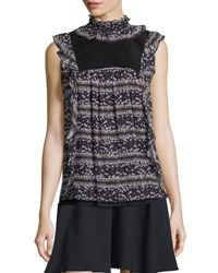 See By Chloe Sleeveless Floral Ruffle Trim Top Black