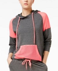 Material Girl Active Juniors' Mesh Inset Hoodie Only At Macy's Charcoal