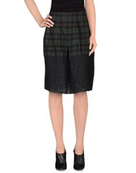 Hache Knee Length Skirts Dark Green