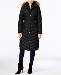 Marc New York Hooded Faux Fur Trim Long Down Puffer Coat Black