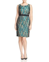 Marina Rinaldi Damiere Geometric Jacquard Shift Dress China Blue