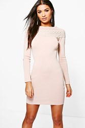 Boohoo Crochet Trim Bodycon Dress Beige