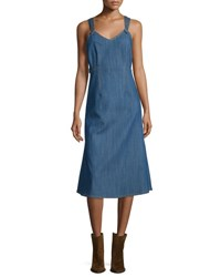 Adam By Adam Lippes Sleeveless Denim A Line Dress Blue Indigo