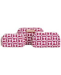 Tommy Hilfiger Th Signature 3 In 1 Logo Canvas Cosmetics Case Raspberry White