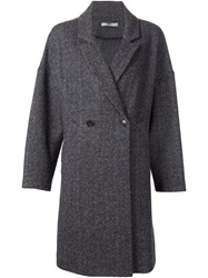 Dusan Double Breasted Herringbone Coat Grey