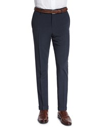 Neiman Marcus Standard Fit Striped Seersucker Trousers Navy