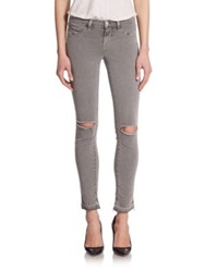 J Brand 811 Mid Rise Distressed Skinny Jeans Silver Fox
