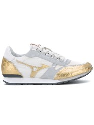 Mizuno Panelled Sneakers Women Leather Rubber 36.5 Nude Neutrals