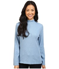 Pendleton L S Mock Neck Cotton Rib Tee Blue Shadow Heather Women's Long Sleeve Pullover Gray