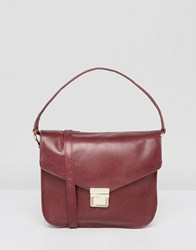 Urbancode Leather Cross Body Bag With Top Handle Deep Red No.3