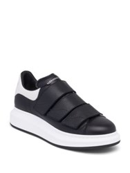 Alexander Mcqueen Leather Platform Sneakers Black White