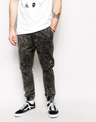 Zee Gee Why Cuffed Trouser Dropit Relaxed Fit Acid Wash Blacid