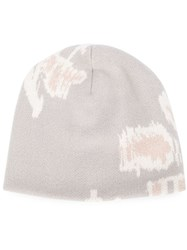 Baja East Intarsia Knit Beanie Grey