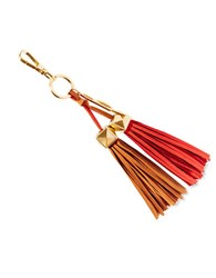 Brian Atwood Apaige Leather Tassel Key Fob Coral Multi