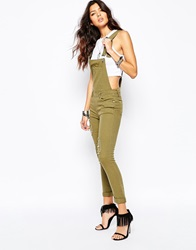 Liquor And Poker Skinny Fit Dungarees With All Over Rips And Distressing Khaki