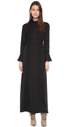 Anna Sui Matte Jersey And Lace Maxi Dress Black