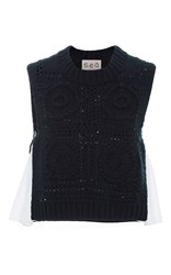 Sea Sleeveless Combo Hand Knit Top Navy