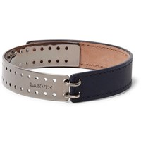 Lanvin Leather Gunmetal Tone Bracelet Navy