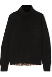 Sacai Wool And Leopard Print Chiffon Sweater Black
