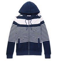 Orlebar Brown Striped Cotton Terry Zip Up Hoodie Blue