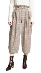 Stella Jean Plaid Wide Leg Trousers Tan Plaid